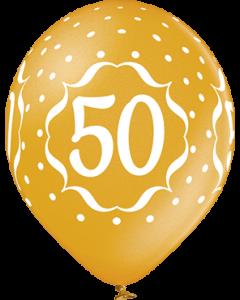 50th Anniversary Metallic Gold Latexballon Rund 12in/30cm