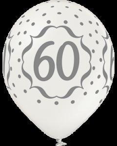 60th Anniversary Metallic Pearl Latexballon Rund 12in/30cm