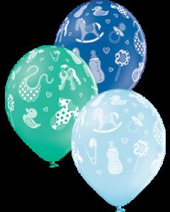 Baby Boy Pastel Sky Blue, Pastel Forest Green und Pastel Royal Blue Sortiment Latexballon Rund 12in/30cm