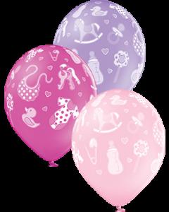 Baby Girl Pastel Pink, Pastel Lavender und Pastel Rose Sortiment Latexballon Rund 12in/30cm