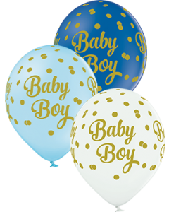 Baby Boy Dots Pastel Sortiment Latex Rund 12in/30cm