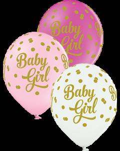 Baby Girl Dots Pastel Sortiment Latexballon Rund 12in/30cm