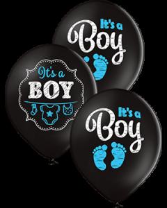 It's A Boy Pastel Black Latexballon Rund 12in/30cm