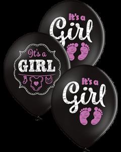 It's A Girl Pastel Black Latexballon Rund 12in/30cm