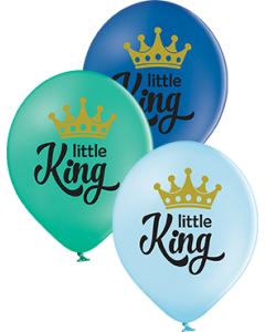 Little King Pastel Sky Blue, Pastel Forest Green und Pastel Royal Blue Sortiment Latexballon Rund 12in/30cm