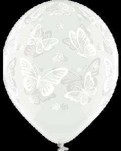Butterflies Crystal Clear (Transparent) Latexballon Rund 12in/30cm