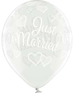 Just Married Crystal Clear (Transparent) Latexballon Rund 12in/30cm