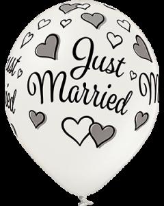 Just Married Metallic Pearl Latexballon Rund 12in/30cm