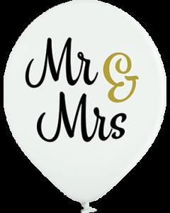 Mr & Mrs Pastel White Latexballon Rund 12in/30cm