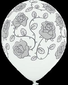 Roses Pastel White Latexballon Rund 12in/30cm