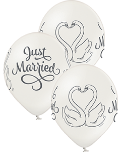 Just Married Swans Metallic Pearl Latexballon Rund 12in/30cm