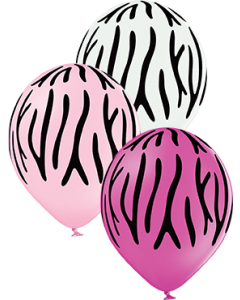 Zebra Stripes Pastel White, Pastel Pink und Pastel Rose Sortiment Latexballon Rund 12in/30cm