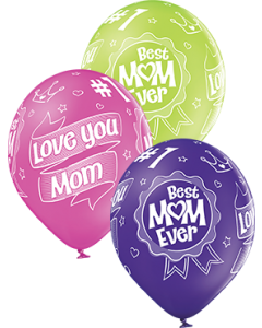 Happy Mother's Day Pastel Apple Green, Pastel Rose und Pastel Royal Lilac Sortiment Latexballon Rund 12in/30cm