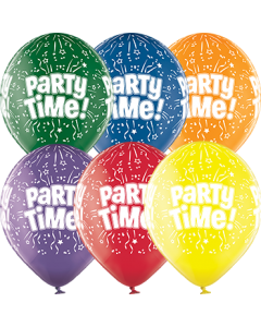 Party Time Crystal Green, Crystal Yellow, Crystal Orange, Crystal Royal Red, Crystal Quartz Purple und Crystal Blue Sortiment (Transparent) Latexballon Rund 12in/30cm