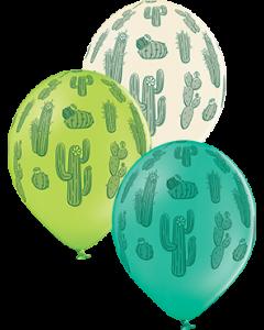 Cactus Pastel Forest Green, Pastel White und Pastel Apple Green Sortiment Latexballon Rund 12in/30cm