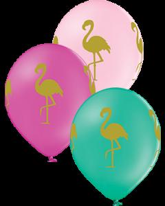 Flamingo Pastel Forest Green, Pastel Rose und Pastel Pink Sortiment Latexballon Rund 12in/30cm