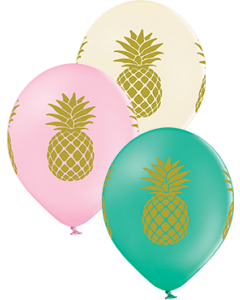 Pineapple Pastel Pink, Pastel Vanilla und Pastel Forest Green Sortiment Latexballon Rund 12in/30cm