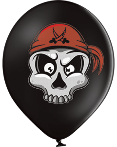 Pirate Skull Pastel Black Latexballon Rund 12in/30cm