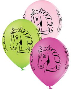 Horses Pastel Apple Green, Pastel Pink und Pastel Rose Sortiment Latexballon Rund 12in/30cm
