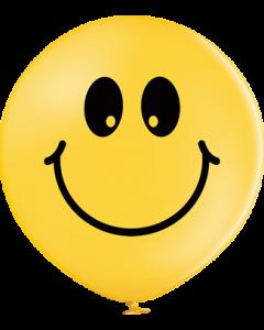 Smiley Pastel Bright Yellow Latexballon Rund 24in/60cm
