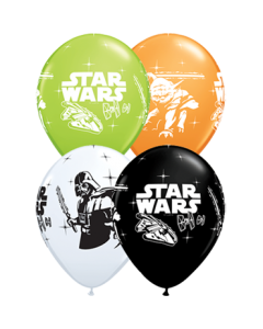 Darth Vader und Yoda Standard Orange, Standard White, Fashion Onyx Black und Fashion Lime Green Sortiment Latexballon Rund 11in/27.5cm
