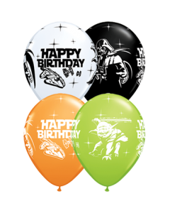 Star Wars Birthday Standard Orange, Standard White, Fashion Onyx Black und Fashion Lime Green Sortiment Latexballon Rund 11in/27.5cm