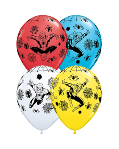 Marvel's Ultimate Spider-Man Standard White, Standard Red, Standard Yellow und Fashion Robins Egg Blue Sortiment Latexballon Rund 11in/27.5cm