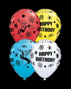 Marvel's Ultimate Spider-Man Birthday Standard White, Standard Red, Standard Yellow und Fashion Robins Egg Blue Sortiment Latexballon Rund 11in/27.5cm
