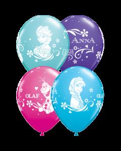 Anna, Elsa und Olaf Fashion Wild Berry, Fashion Caribbean Blue, Fashion Purple Violet und Fashion Robins Egg Blue Sortiment Latexballon Rund 11in/27.5cm