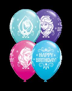Disney Frozen Birthday Fashion Wild Berry, Fashion Caribbean Blue, Fashion Purple Violet und Fashion Robins Egg Blue Sortiment Latexballon Rund 11in/27.5cm