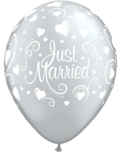 Just Married Hearts Metallic Silver Latexballon Rund 11in/27.5cm