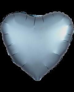 Steel Blue Satin Luxe Folienform Herz 17in/43cm