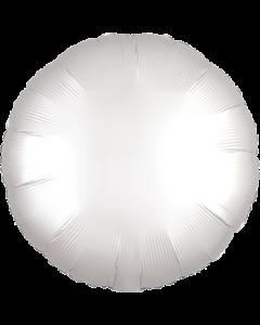 White Satin Luxe Folienform Rund 17in/43cm