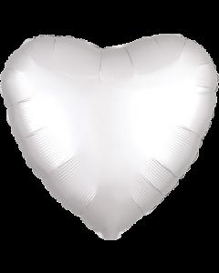 White Satin Luxe Folienform Herz 17in/43cm