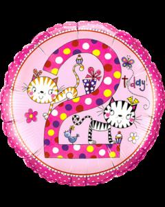 Rachel Ellen – Age 2 Kittens Polka Dots Folienform Rund 18in/45cm