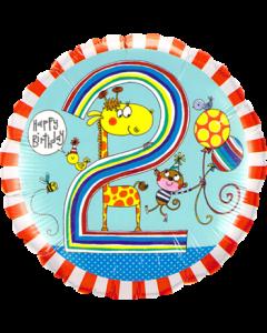 Rachel Ellen – Age 2 Giraffe Stripes Folienform Rund 18in/45cm