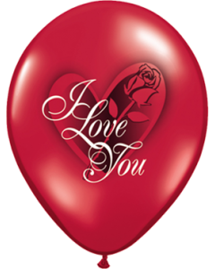 I Love You Red Rose Crystal Ruby Red (Transparent) Latexballon Rund 11in/27.5cm