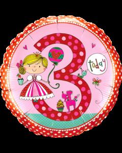 Rachel Ellen – Age 3 Princess Polka Dots Folienform Rund 18in/45cm