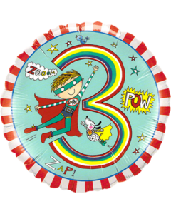Rachel Ellen – Age 3 Super Hero Stripes Folienform Rund 18in/45cm