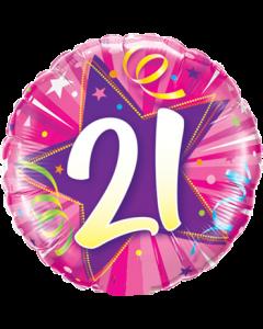 21 Shining Star Hot Pink Folienform Rund 18in/45cm
