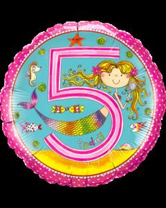 Rachel Ellen – Age 5 Mermaid Polka Dots Folienform Rund 18in/45cm