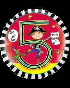 Rachel Ellen – Age 5 Pirate Stripes Folienform Rund 18in/45cm