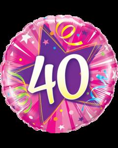 40 Shining Star Hot Pink Folienform Rund 18in/45cm