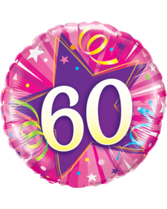 60 Shining Star Hot Pink Folienform Rund 18in/45cm