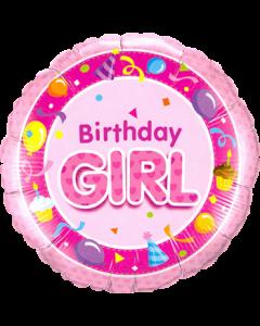 Birthday Girl Pink Folienform Rund 18in/45cm