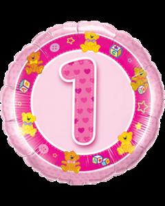 Age 1 Pink Teddies Folienform Rund 18in/45cm