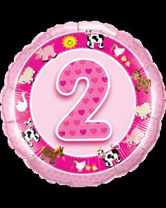 Age 2 Pink Farm Animals Folienform Rund 18in/45cm