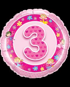 Age 3 Pink Fairies Folienform Rund 18in/45cm