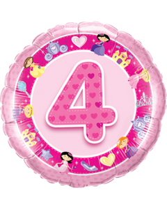 Age 4 Pink Princess Folienform Rund 18in/45cm