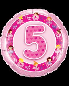 Age 5 Pink Ballerinas Folienform Rund 18in/45cm